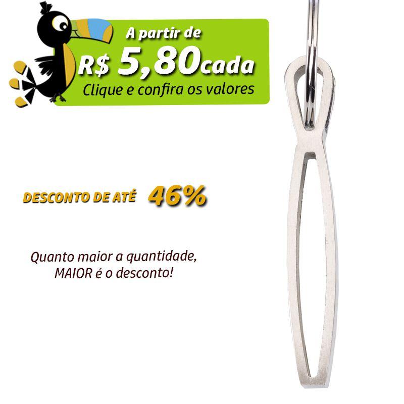 Chaveiro Semi-Curvo Metal Alça Detalhe Couro - Ref.0044004