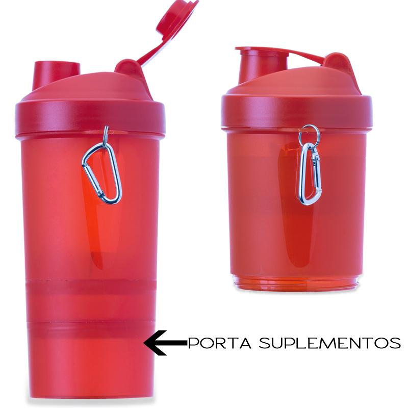 Coqueteleira com Porta Suplemento 400ml - Ref.0018110