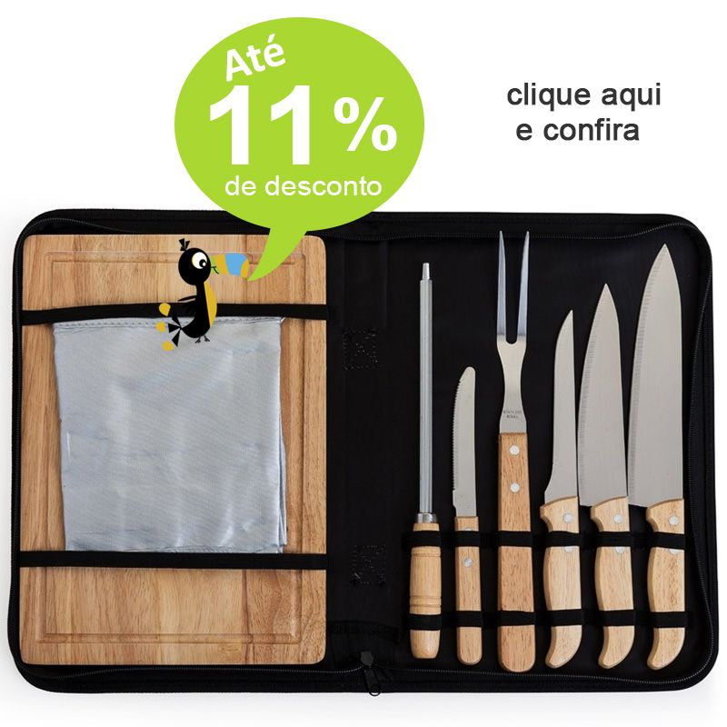 Kit Churrasco com Avental 8 Peças - Ref.0014043