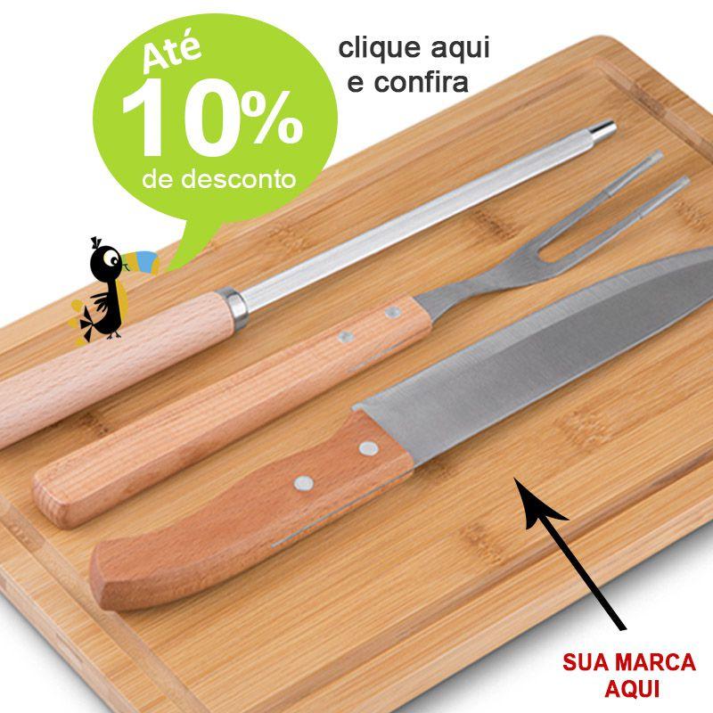 Kit Churrasco Bambu 4 Peças - Ref.0014088