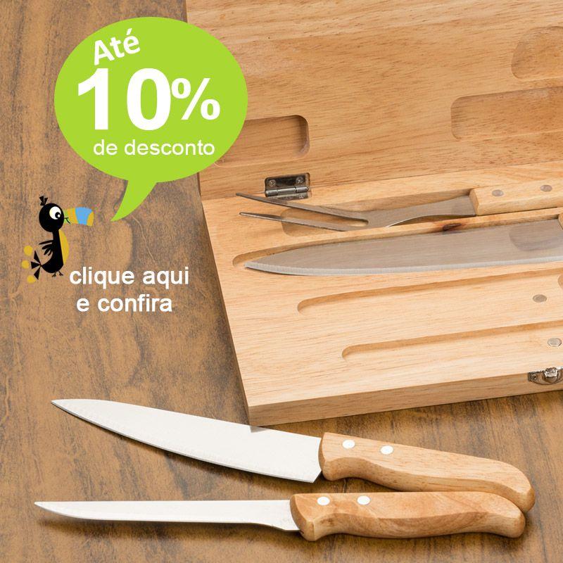 Kit Churrasco Estojo Madeira 4 Peças - Ref.0014091