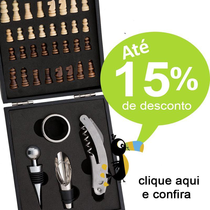 Kit Vinho 4 Peças com Estojo Jogo de Xadrez - Ref.0026106