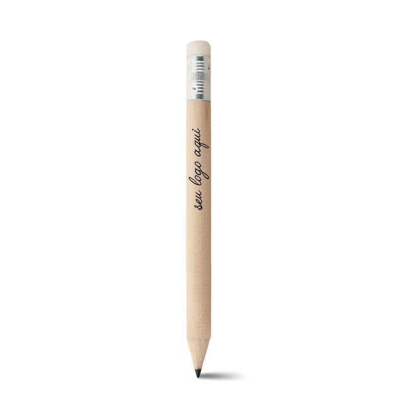 Mini Lápis de Madeira Ecológico Crú com Borracha - Ref.0029176 - A partir de
