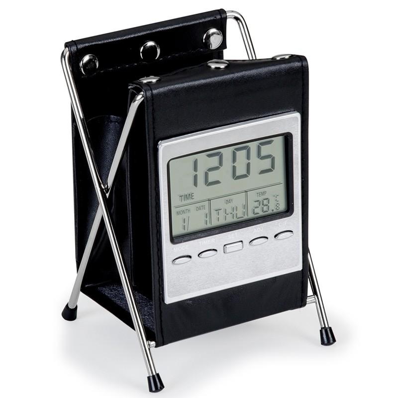 Porta caneta em couro sintético com relógio - Ref.0043001