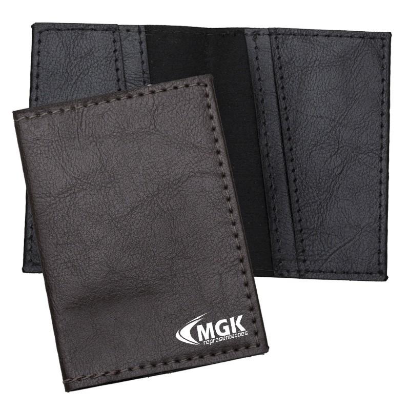 Porta Cartão em couro sintético com quatro divisórias - Ref.0029270