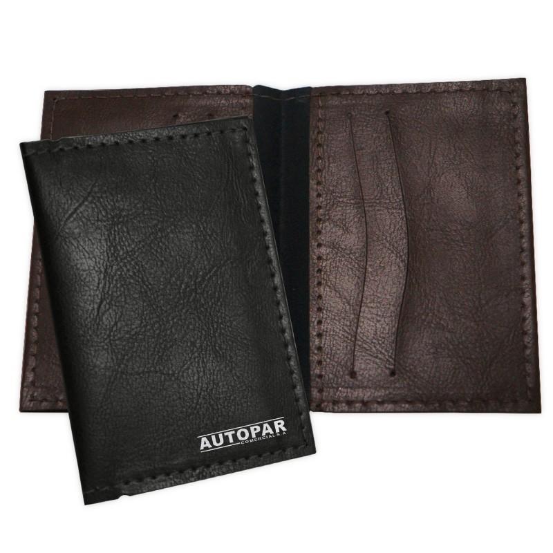 Porta Cartão em couro sintético, quatro divisórias e dois bolsos internos - Ref.0029275