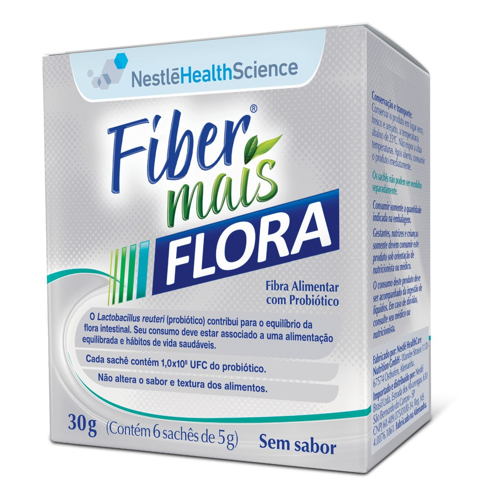 Resource Fiber Mais Flora - Display com 6 sachês de 5g Cada - (NESTLE)