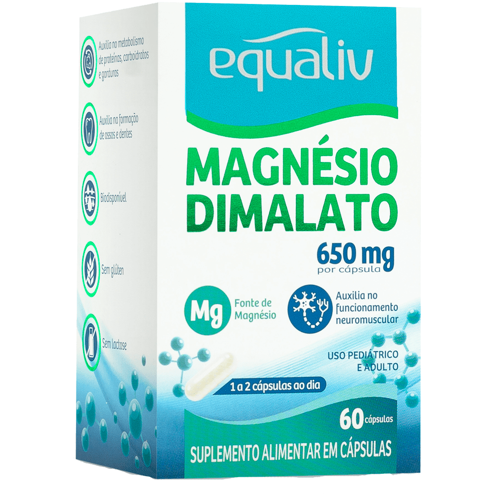 MAGNÉSIO DIMALATO - 60 CÁPSULAS - EQUALIV