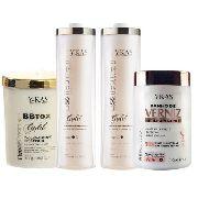 Escova Progressiva Ykas Ouro 2x1L e Ykas Gold Botox 1kg e Banho de Verniz 1kg