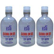 Kit Álcool em Gel 70% Eco Sept Higienizador de Mãos 3 x 500ml