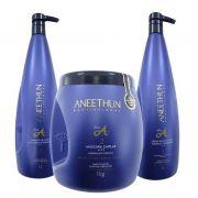 Kit Shampoo Creme E Máscara Aneethun Linha A Profissional