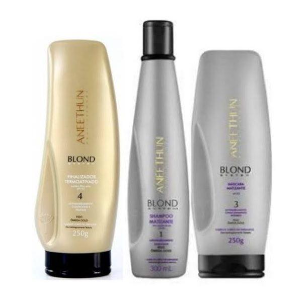 Aneethun Blond Kit Matizante Shampoo, Máscara e Finalizador