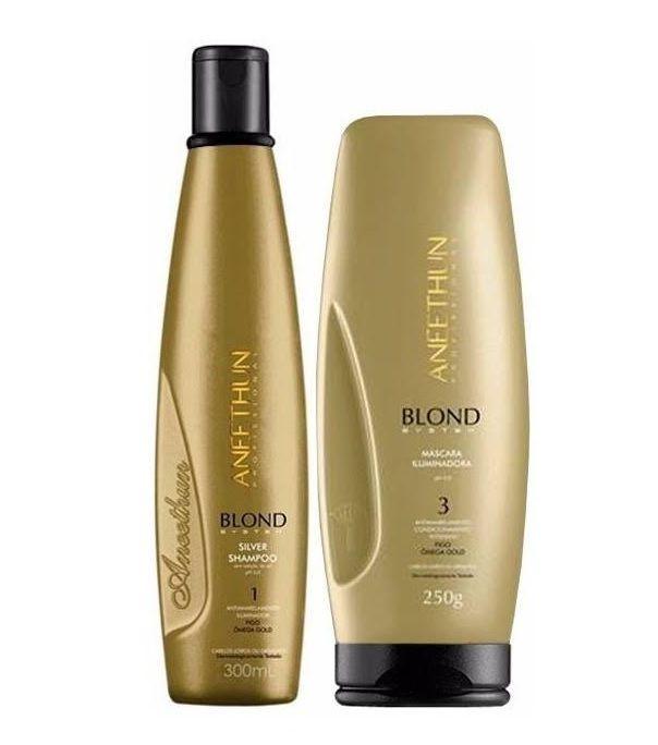 Aneethun Blond System Shampoo Silver E Máscara Iluminadora