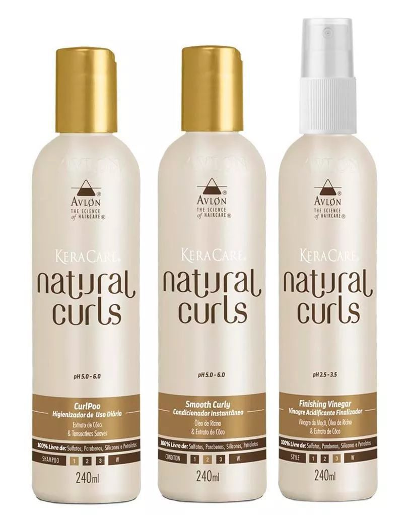 Avlon Kit Natural Curls Shampoo Condicionador e Finalizador