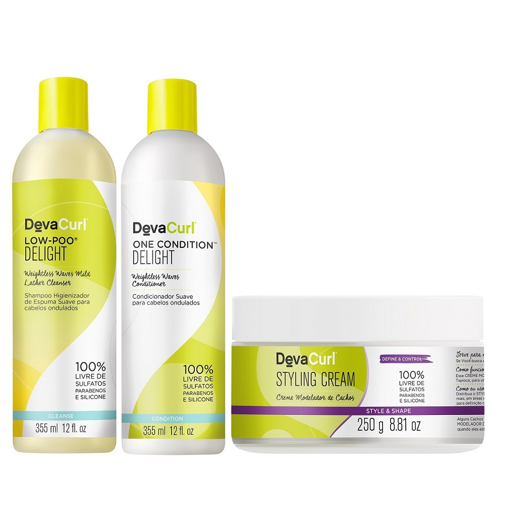 Deva Curl Delight Low Poo One Cond,styling Cream 250g