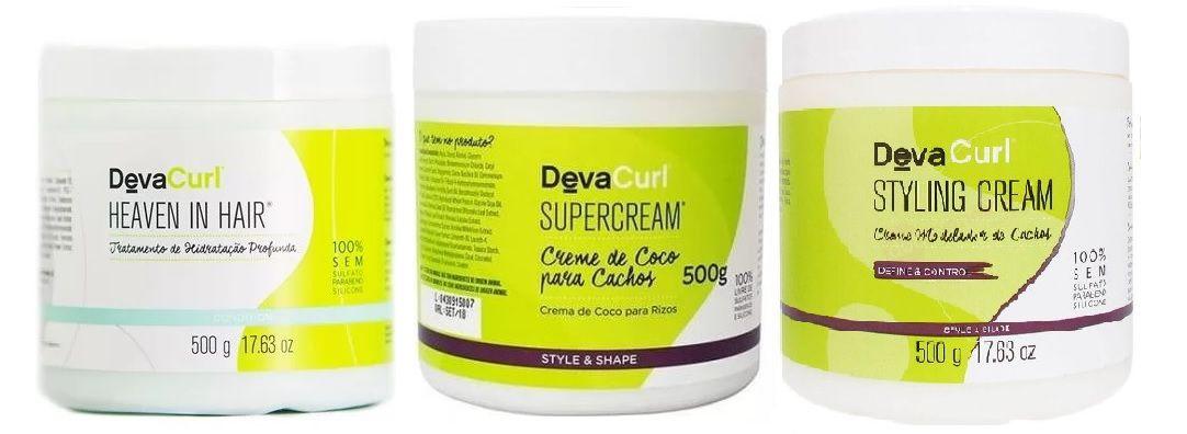 Deva Curl Heaven In Hair e Supercream E Styling Cream 3x500g