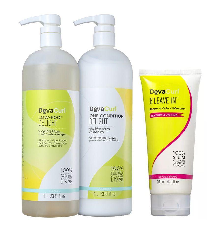 Deva Curl Kit Delight Low Poo, One (2 X 1litro) B' Leave-in