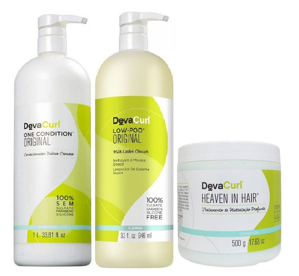 Deva Curl Low Poo One Condition 1000ml e Heaven in Hair 500g