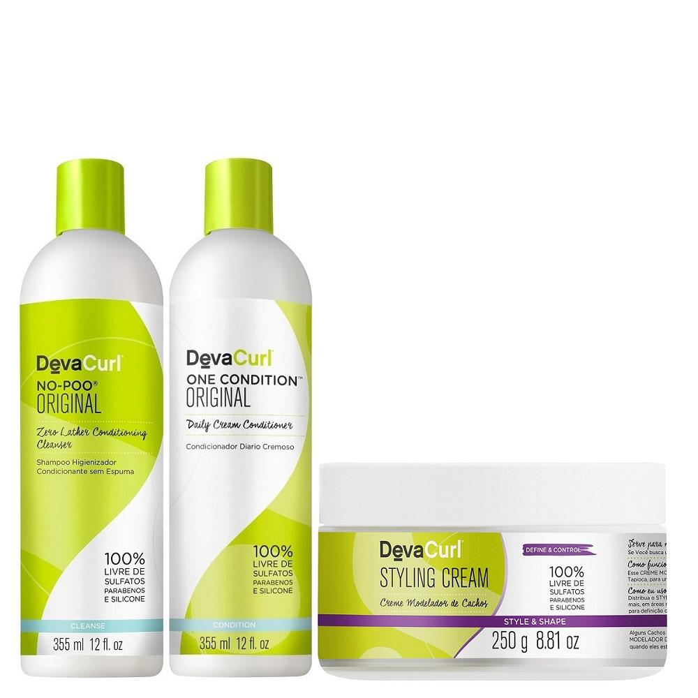 Deva Curl No Poo e One Condition 2x355ml Styling Cream 250g