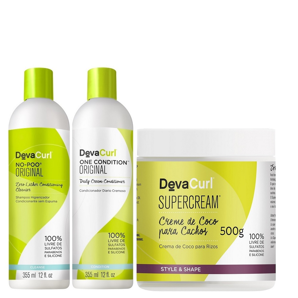 Deva Curl No Poo E One Condition De 355ml E Supercream 500g
