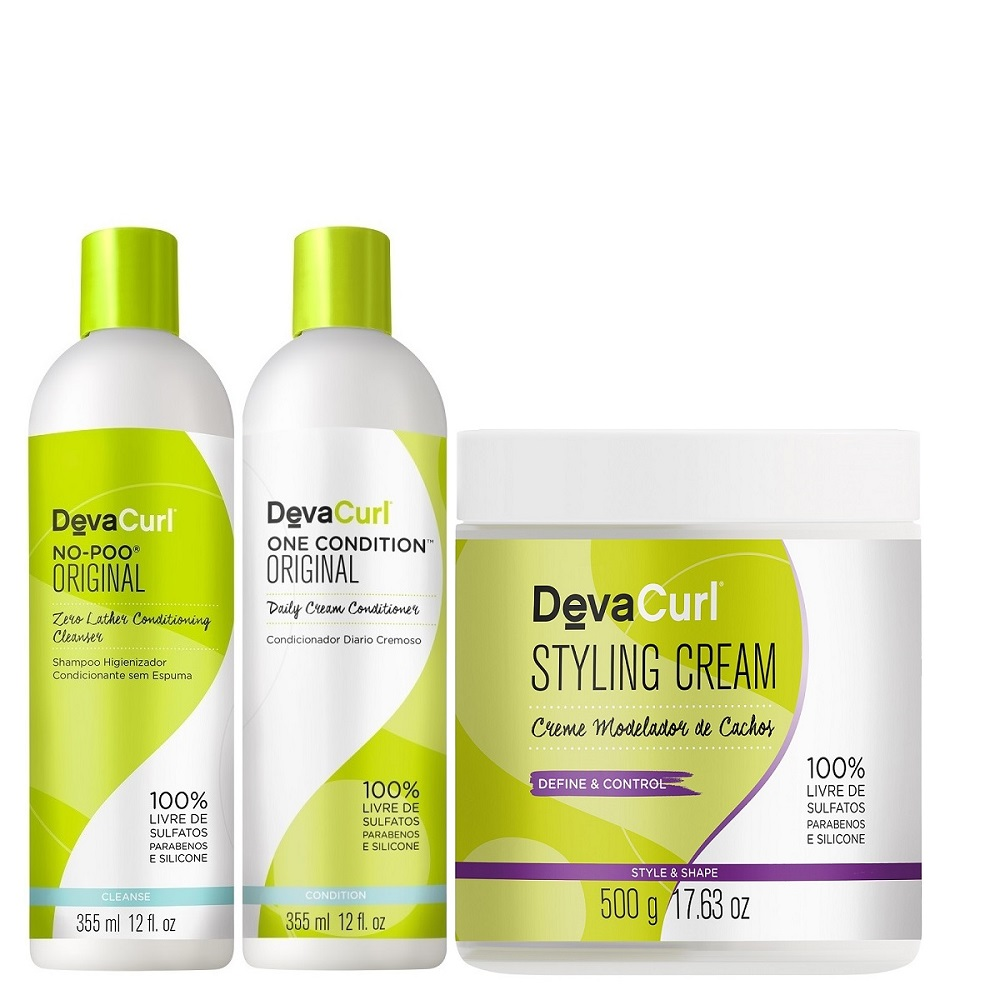 Deva Curl No Poo One Condition de 355ml e Styling Cream 500g
