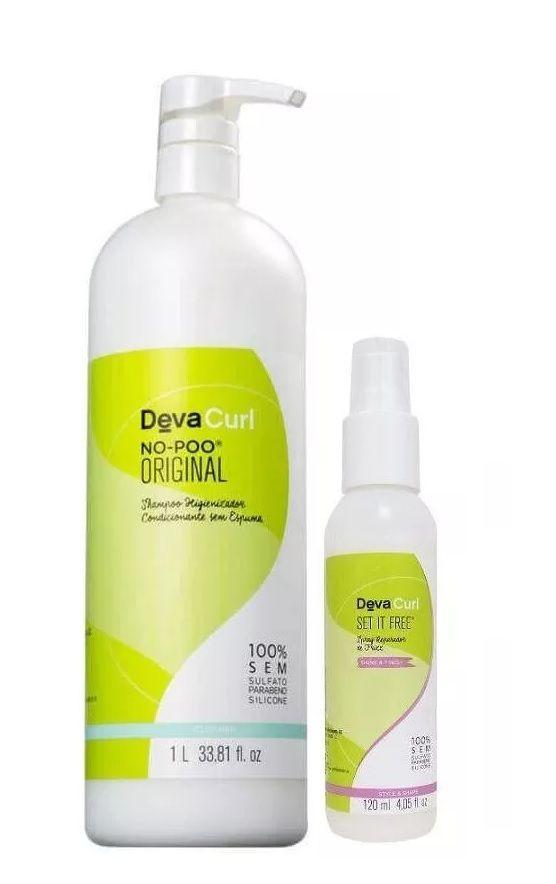 Deva Curl No Poo Original 1000ml e Set It Free 120ml