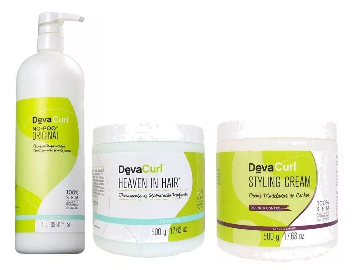 Deva Curl No Poo Original 1000ml, Styling Cream e Heaven Hair 500g