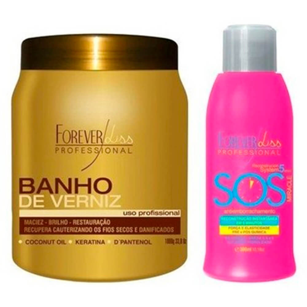 Kit Banho de Verniz 1kg e SOS 300ml Forever Liss