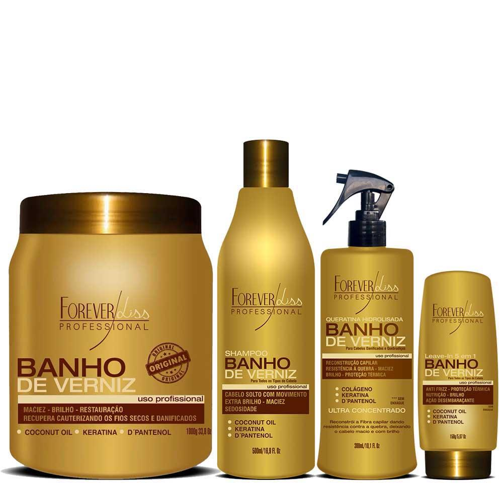 9c99a1c9b Kit Banho de Verniz Forever Liss Shampoo 500ml, Queratina 300ml, Leave-in  150g e Máscara 1kg ...