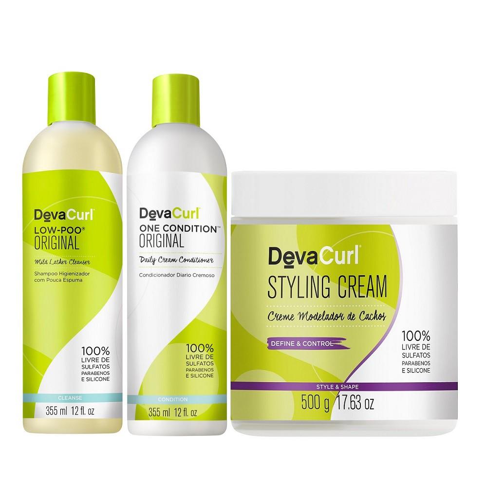 Kit Deva Curl Low Poo 2x355ml e Styling Cream 500g