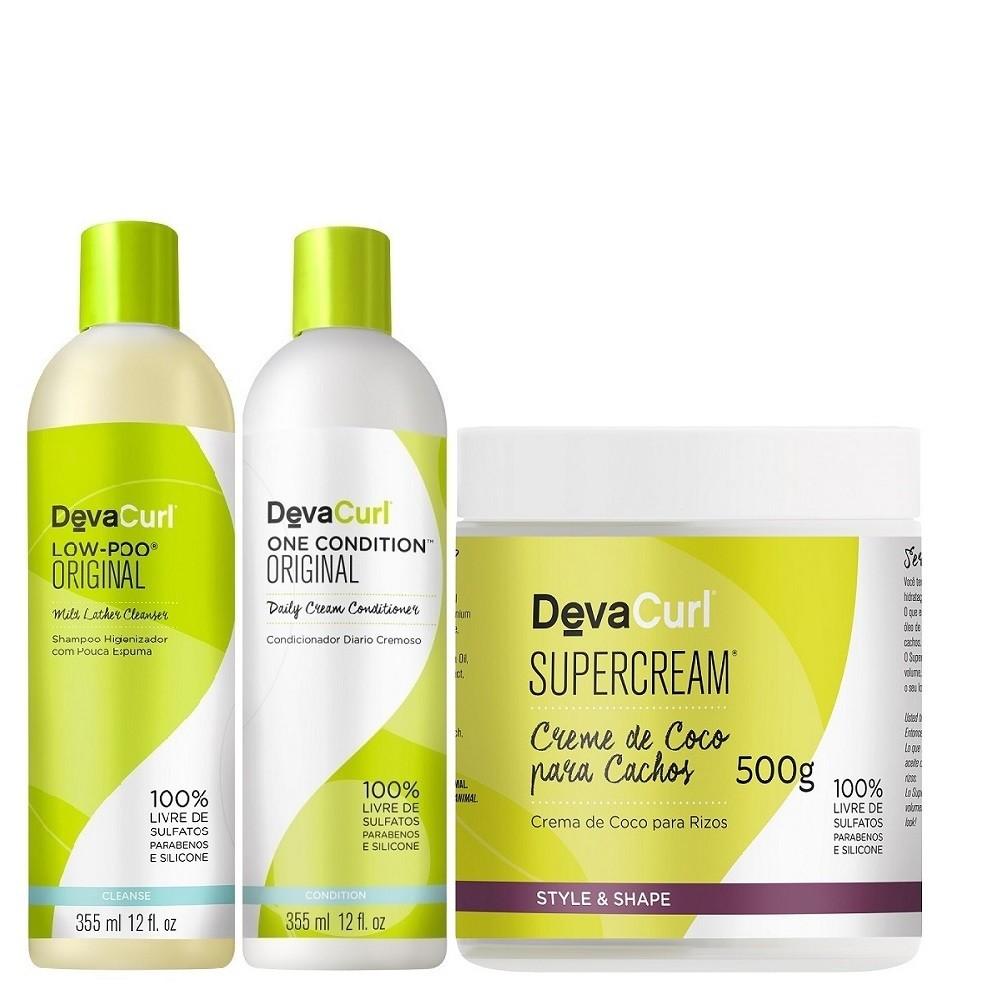 Kit Deva Curl Low Poo, One Condition 2x355ml e SuperCream 500g
