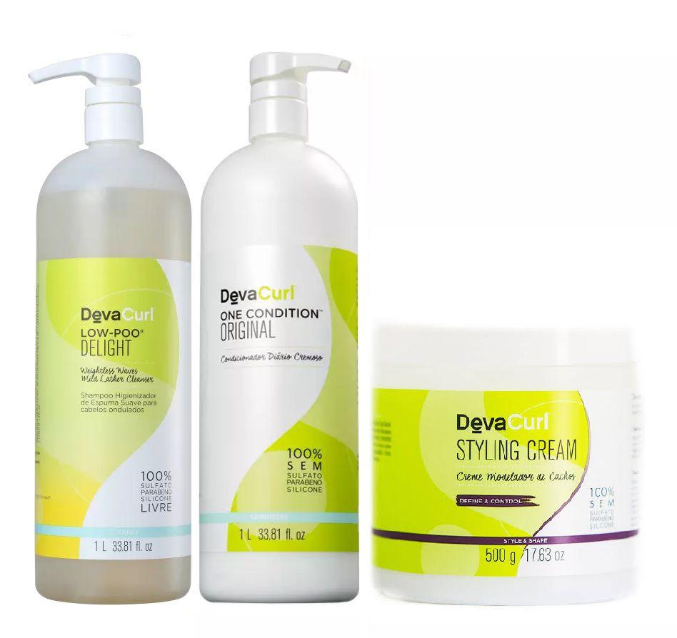 Kit Deva Curl Profissional Livre de Química (3 produtos)