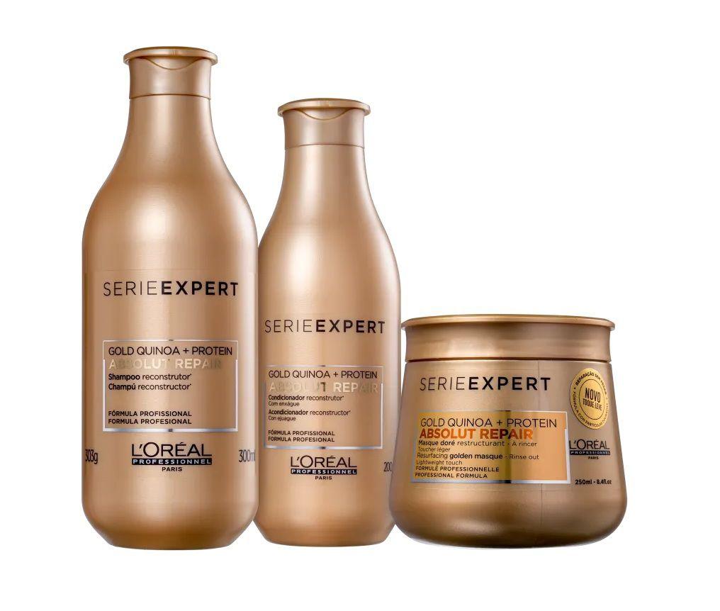 Kit Loréal ABS Gold Quinoa + Protein Golden Trio (3 Itens)