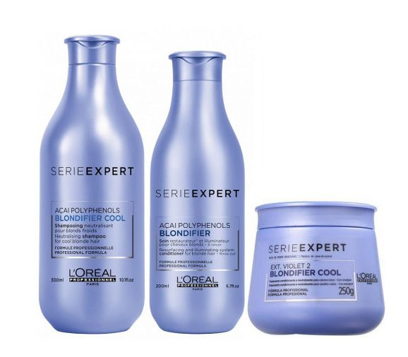 Kit loreal Blondifier Cool Shampoo 300ml Condicionador 200ml e Máscara Cool 250ml
