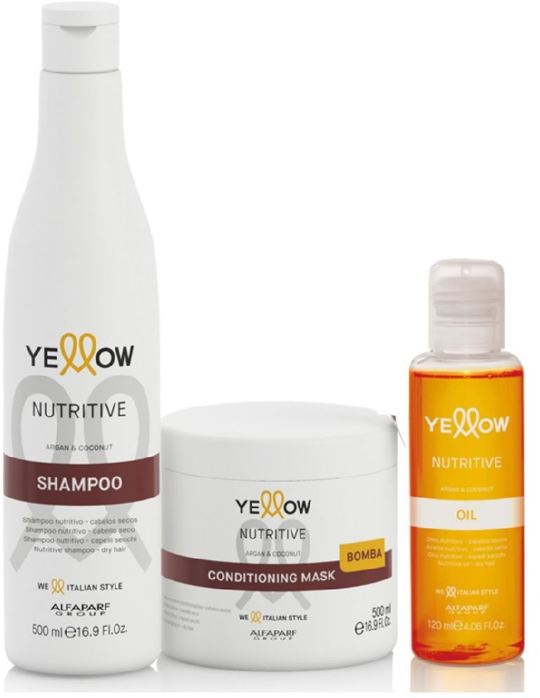 Kit Yellow Nutritive  Shampoo 500ml e Mascara 500ml e Oil 120ml