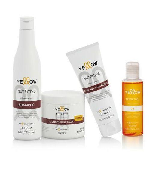 Kit Yellow Nutritive Shampoo 500ml+Mascara 500ml+Oil 120ml+Leaven-in Conditioner 250ml