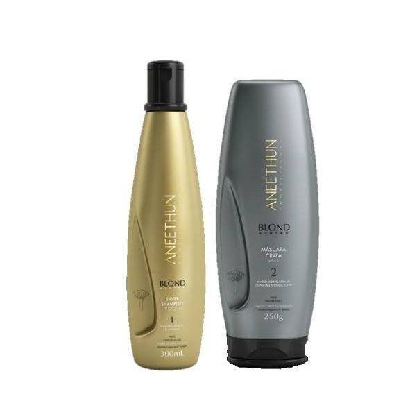 Shampoo Silver Blond 300ml + Máscara Cinza Aneethun 250g