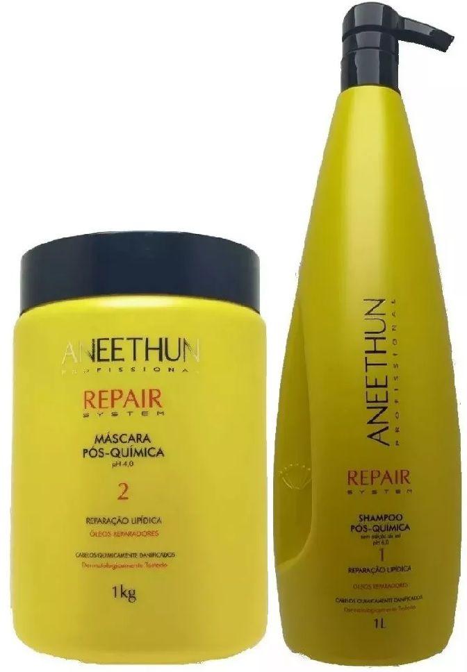 Shampoo e Mascara Pós Química Aneethun Repair System 2x1Kg