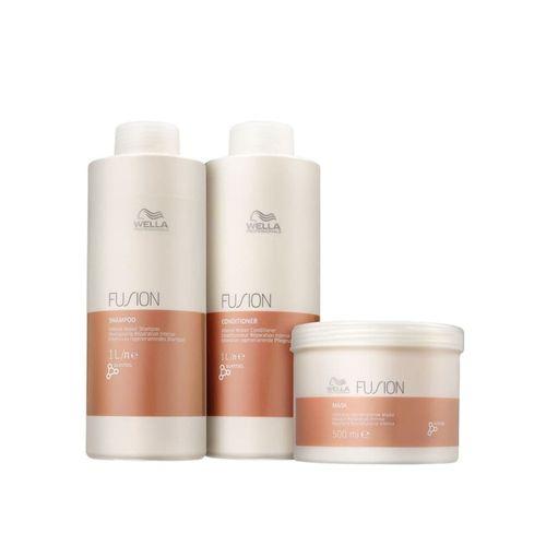 Shampoo e Condicionador 1000ml  + mascara de 500G Wella Fusion