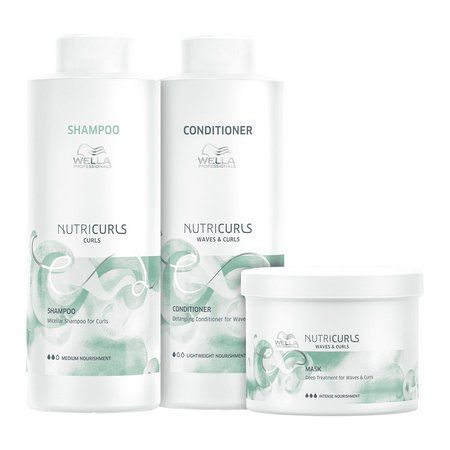 Kit Wella Nutricurls Shampoo e Condicionador 2x1000ml e Mascara 500g
