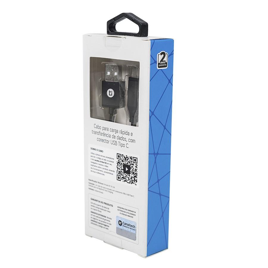 Cabo Canaltech USB Tipo-C Nylon Preto 1m