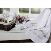 Jogo de Banho Bouquet Bordado 05 Peças 100% Algodão Branco - Casaborda