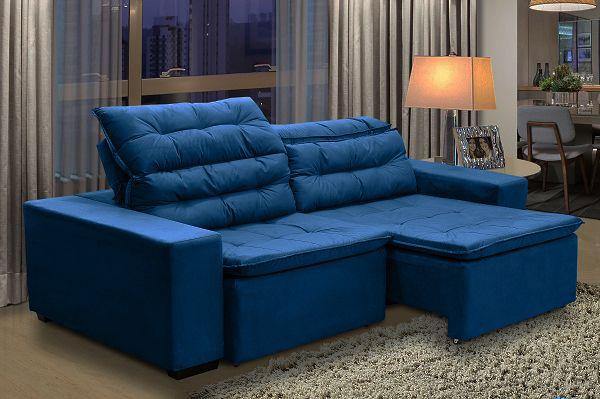 Sofa Chiron 4 Lugares retrátil e reclinável Suede Azul ...