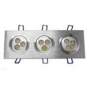 Spot Alumínio Retangular (Triplo 3W) 9W Led Branco Puro