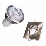 Kit Spot Quadrado Prata + Lâmpada 5w 12v Branco Puro