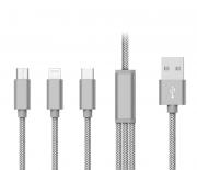 CABO DADOS USB 3x1 (Micro USB / Lightning / Tipo-C) - PMCELL CROMO739 CB-32