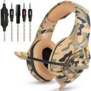 Fone Ouvido Headset Gamer K1B Camuflado Desert Battle Onikuma