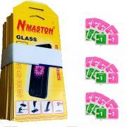 Kit 150 películas de vidro + 150 flanelas de limpeza e aplicação