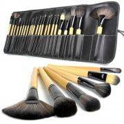 Kit 24 Pincéis Maquiagem + Estojo Premium PRETO