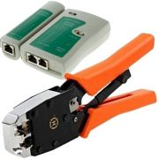 Kit Alicate Crimpador com Catraca + Testador RJ45 + 100 Conectores Cat5e